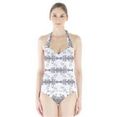 Floral Collage Pattern Halter Swimsuit