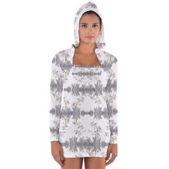 Floral Collage Pattern Long Sleeve Hooded T Shirt