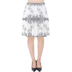 Floral Collage Pattern Velvet High Waist Skirt