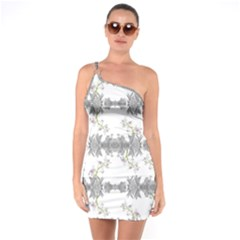 Floral Collage Pattern One Soulder Bodycon Dress