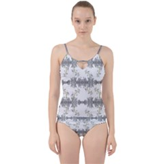 Floral Collage Pattern Cut Out Top Tankini Set