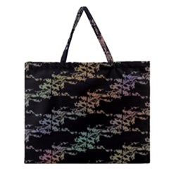 Birds With Nest Rainbow Zipper Large Tote Bag