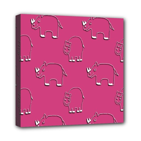 Rhino Pattern Wallpaper Vector Mini Canvas 8  X 8