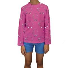 Rhino Pattern Wallpaper Vector Kids  Long Sleeve Swimwear