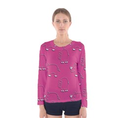 Rhino Pattern Wallpaper Vector Women s Long Sleeve Tee