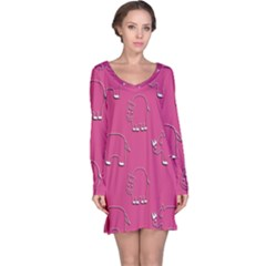 Rhino Pattern Wallpaper Vector Long Sleeve Nightdress