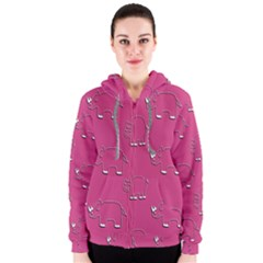 Rhino Pattern Wallpaper Vector Women s Zipper Hoodie