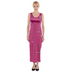 Rhino Pattern Wallpaper Vector Fitted Maxi Dress