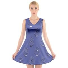 Owl Pattern Wallpaper Vector V Neck Sleeveless Skater Dress