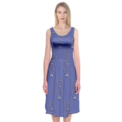 Owl Pattern Wallpaper Vector Midi Sleeveless Dress
