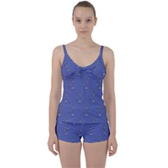 Owl Pattern Wallpaper Vector Tie Front Two Piece Tankini