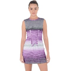 Ombre Lace Up Front Bodycon Dress