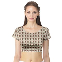 Native American Pattern Short Sleeve Crop Top (tight Fit)