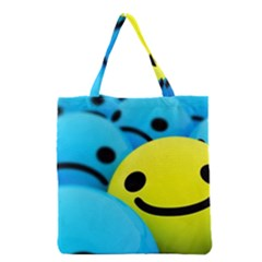 Smile Blue Yellow Bright  Grocery Tote Bag