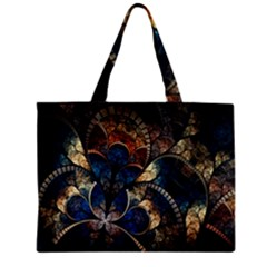 Abstract Pattern Dark Blue And Gold Zipper Mini Tote Bag