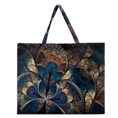 Abstract Pattern Dark Blue And Gold Zipper Large Tote Bag