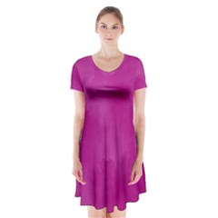 Ombre Short Sleeve V Neck Flare Dress
