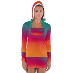 Ombre Long Sleeve Hooded T Shirt