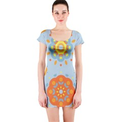 Tekstura Uzory Tsvety Krugi  Short Sleeve Bodycon Dress