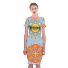 Tekstura Uzory Tsvety Krugi  Classic Short Sleeve Midi Dress