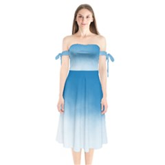Ombre Shoulder Tie Bardot Midi Dress