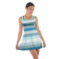 Texture Stripes Horizontal Blue Gray Cotton Racerback Dress