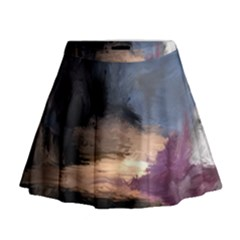 Texture Background Color Style Mini Flare Skirt