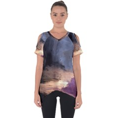 Texture Background Color Style Cut Out Side Drop Tee