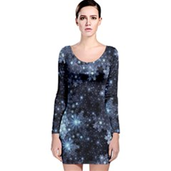 Stars Lines Dark Shadow  Long Sleeve Velvet Bodycon Dress