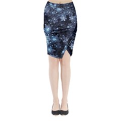 Stars Lines Dark Shadow  Midi Wrap Pencil Skirt