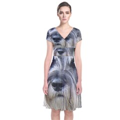 Standard Schnauzer 2 Short Sleeve Front Wrap Dress