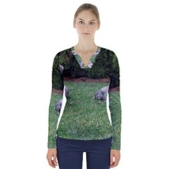 2 Standard Schnauzers V Neck Long Sleeve Top