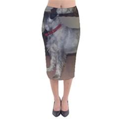 Standard Schnauzer Full Velvet Midi Pencil Skirt