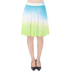 Ombre Velvet High Waist Skirt