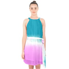 Ombre Halter Collar Waist Tie Chiffon Dress