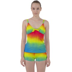Ombre Tie Front Two Piece Tankini