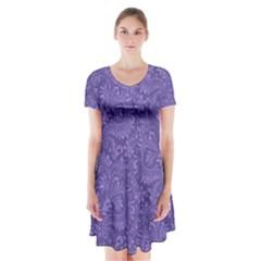 Floral Pattern Short Sleeve V Neck Flare Dress