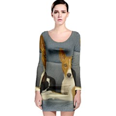 2 Basenjis Long Sleeve Bodycon Dress
