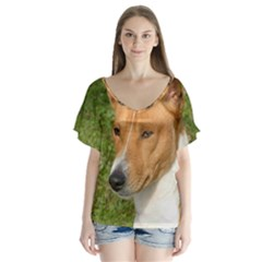 Basenji 2 V Neck Flutter Sleeve Top