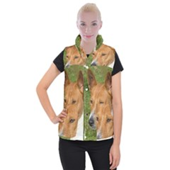 Basenji 2 Women s Button Up Puffer Vest