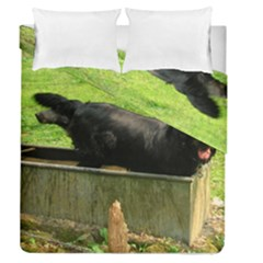 2 Full Flat Coated Retriever Duvet Cover Double Side (queen Size)