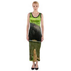 2 Full Flat Coated Retriever Fitted Maxi Dress