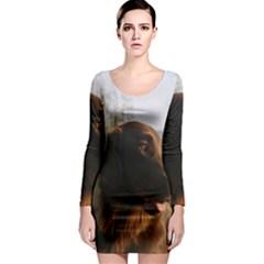 Flat Coated Retriever Long Sleeve Bodycon Dress