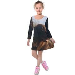 Flat Coated Retriever Kids  Long Sleeve Velvet Dress