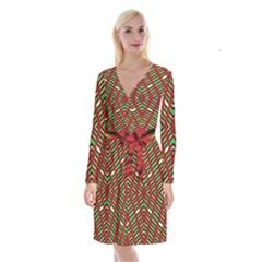 Only One Long Sleeve Velvet Front Wrap Dress