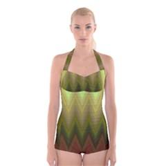 Zig Zag Chevron Classic Pattern Boyleg Halter Swimsuit