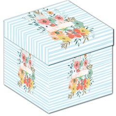 Watercolor Bouquet Floral White Storage Stool 12