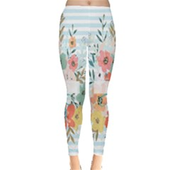 Watercolor Bouquet Floral White Leggings