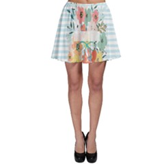Watercolor Bouquet Floral White Skater Skirt