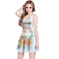 Watercolor Bouquet Floral White Reversible Sleeveless Dress